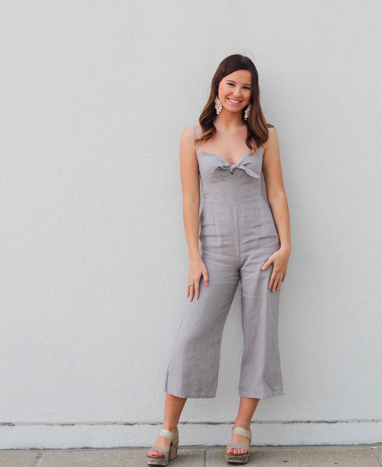Grey Linen Jumpsuit w Tie Top