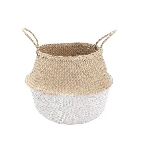 White Dipped Belly Basket | Medium