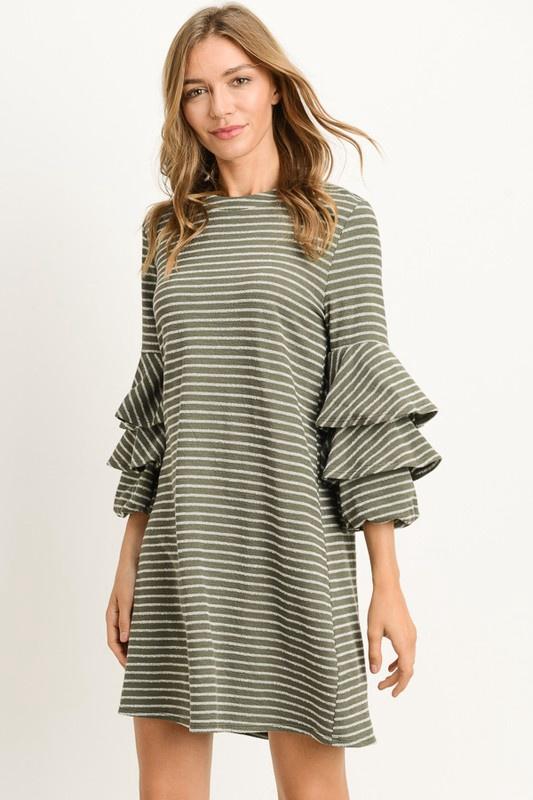 Striped Knit Shift Dress w/Ruffle Slvs