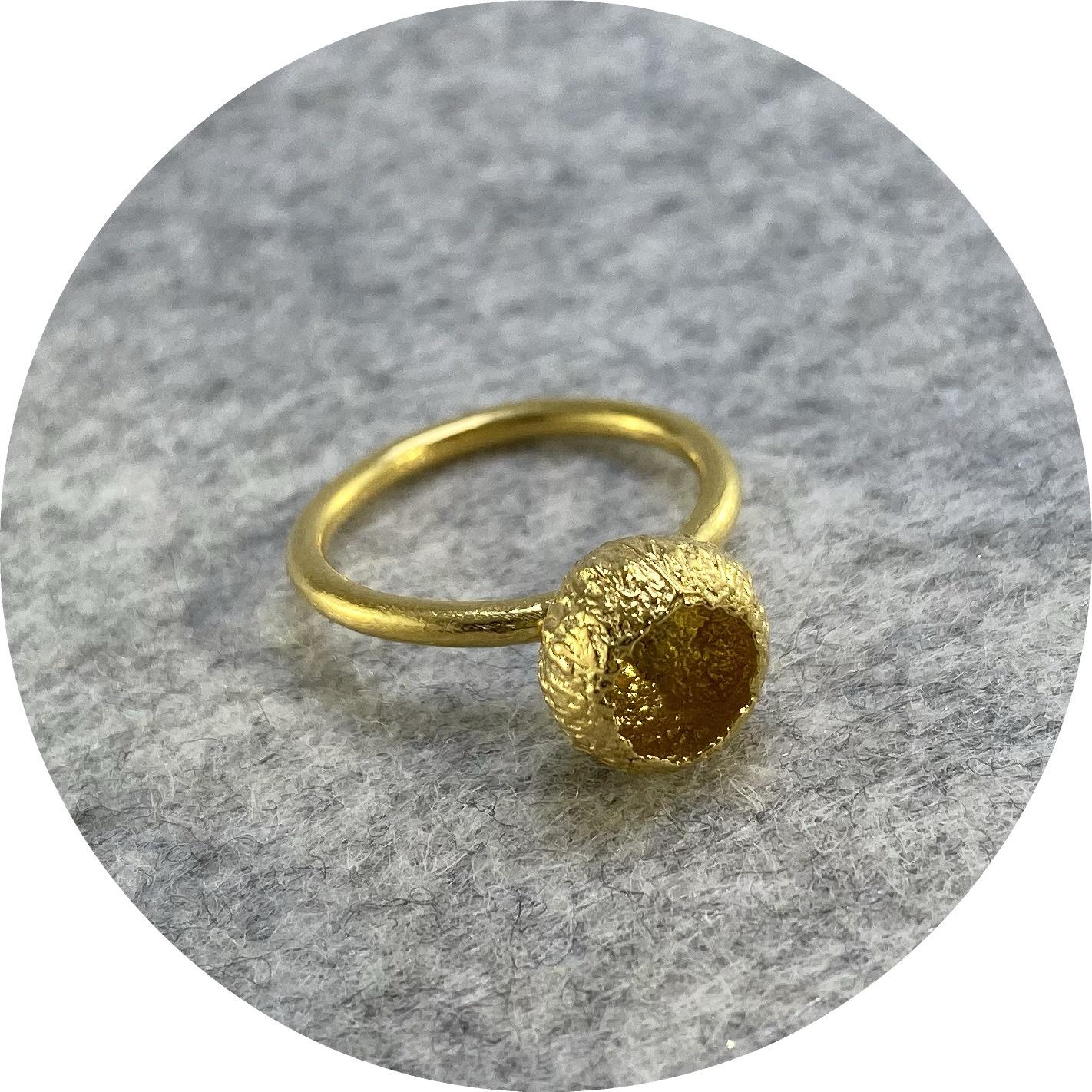 Manuela Igreja- Acorn cap ring. Gold plated sterling silver. size J.