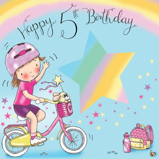 Age 5 Girls Birthday Card Bicycle TW635
