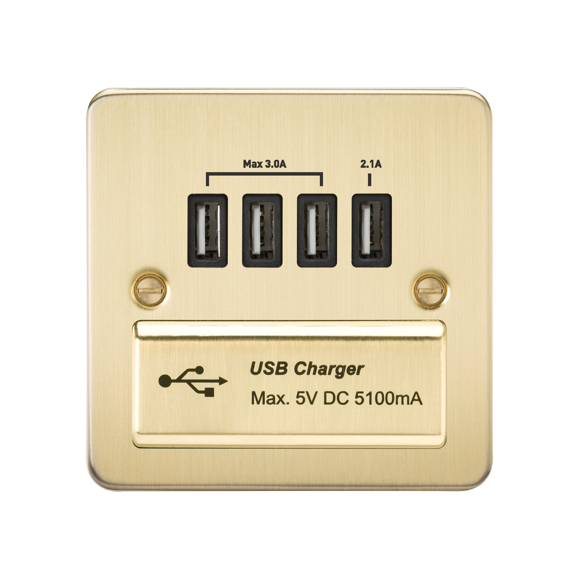 FLAT PLATE 1G QUAD USB CHARGER OUTLET 5V DC 5.1A - BRUSHED BRASS WITH BLACK INSERT