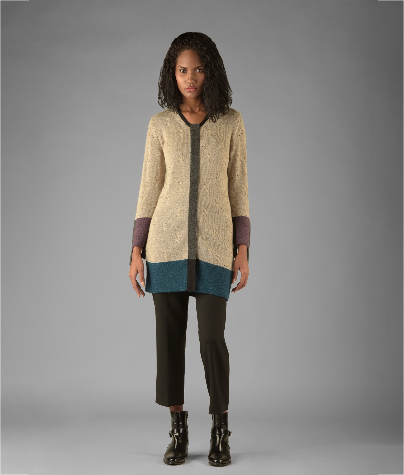 CABLES BLOCKED LONG CARDIGAN C002