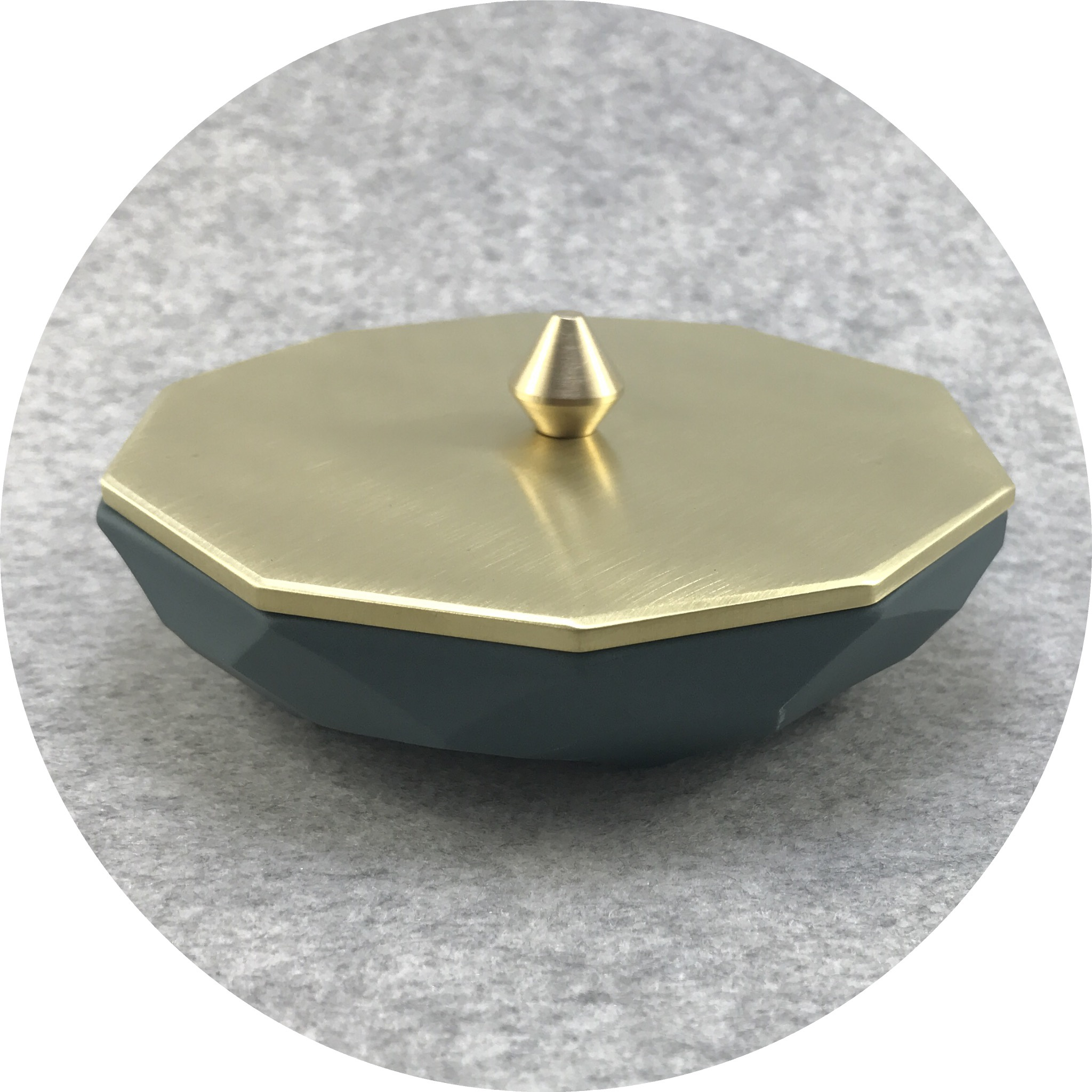 Abby Seymour- Jewellery Dish. Slate facetted porcelain and Brass.
