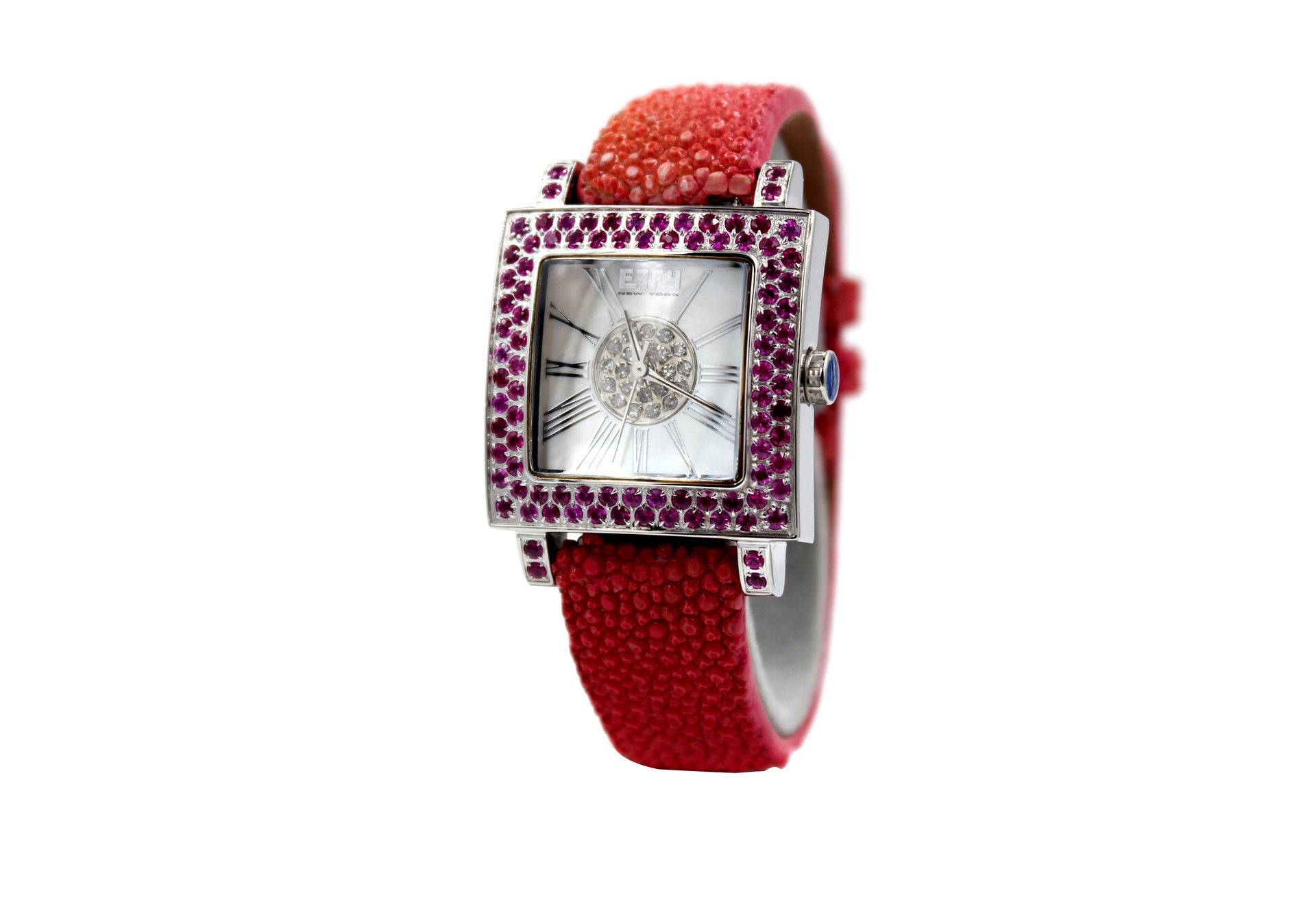 Effy Time SquareAmethyst Mother-of-Pearl Dial Unisex Watch
