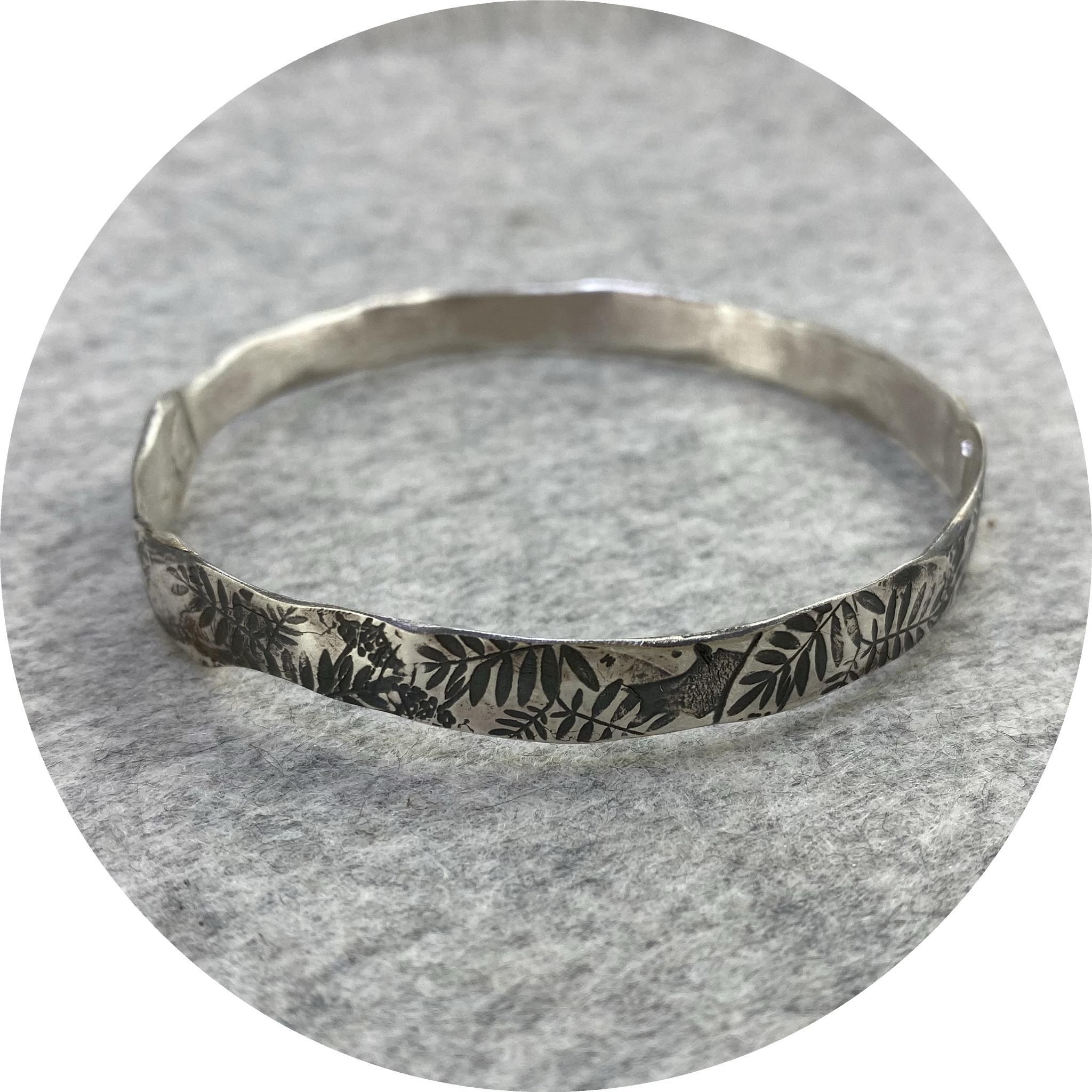 Claire Taylor - 'Oxidised Leaf Bangle', 925 silver