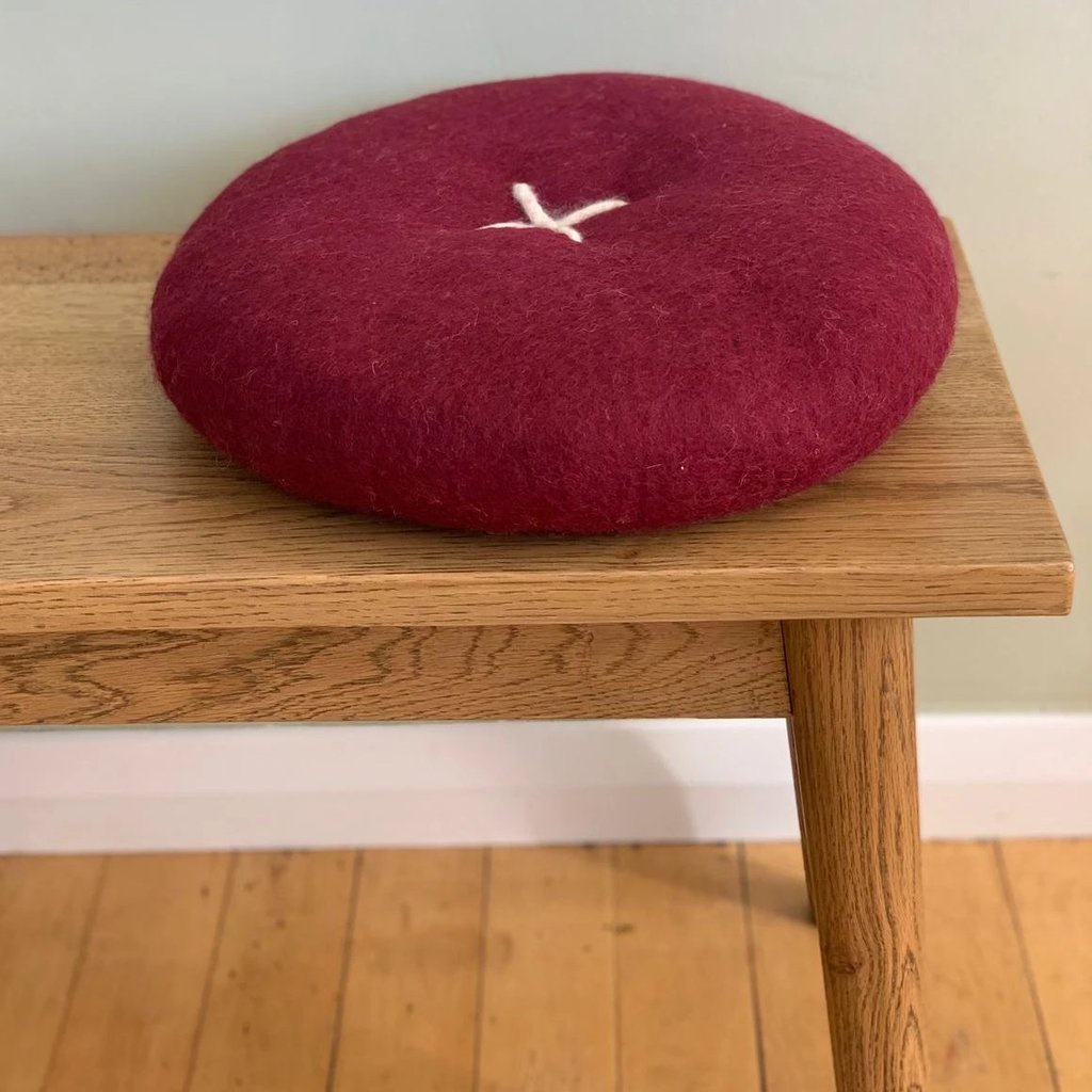 BUTTON CUSHION - MULBERRY