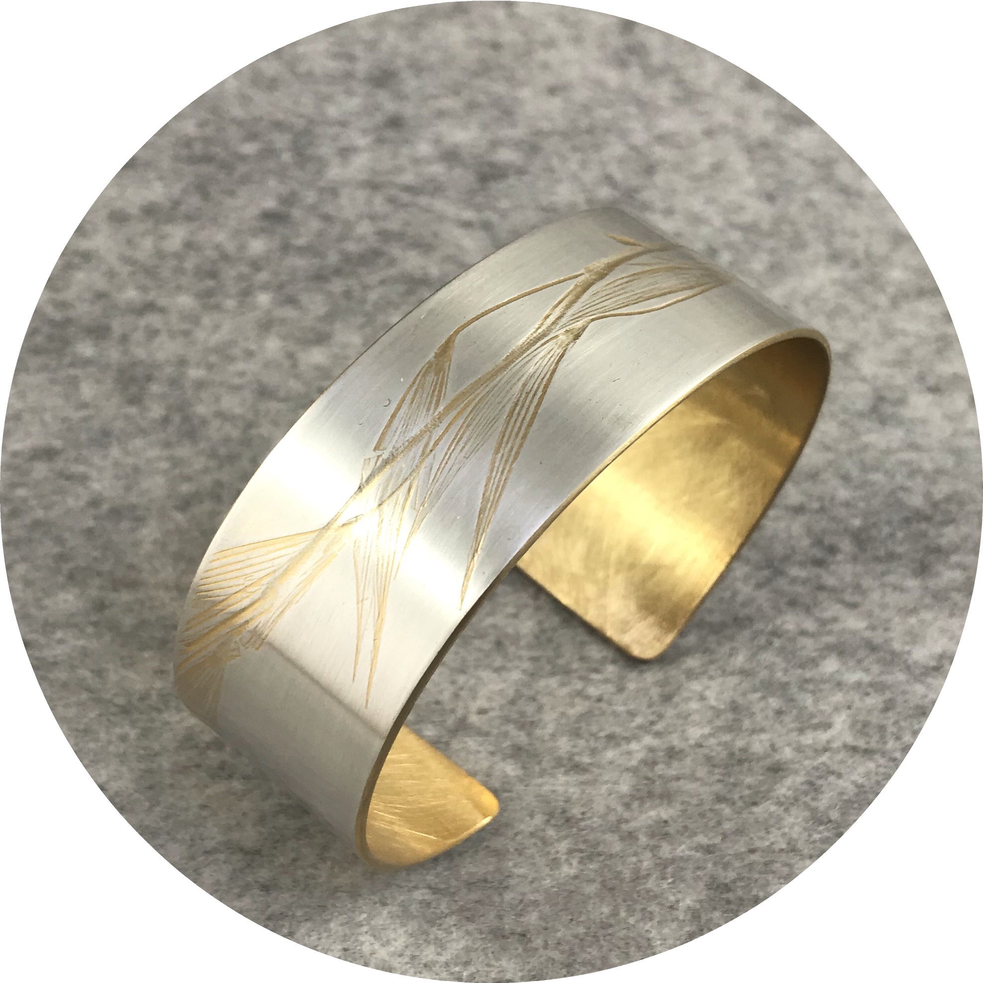 Claire Taylor - 'Yellow Plant Cuff', 925 silver, yellow gold plate