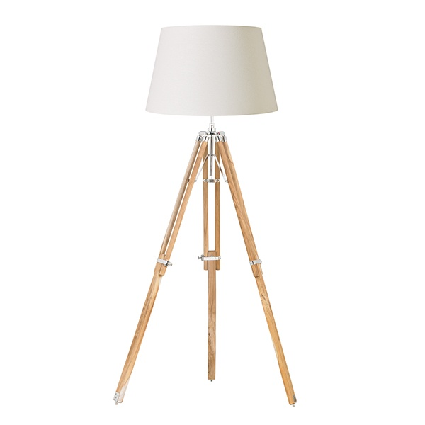 Tripod base only floor 60W SW - teak wood