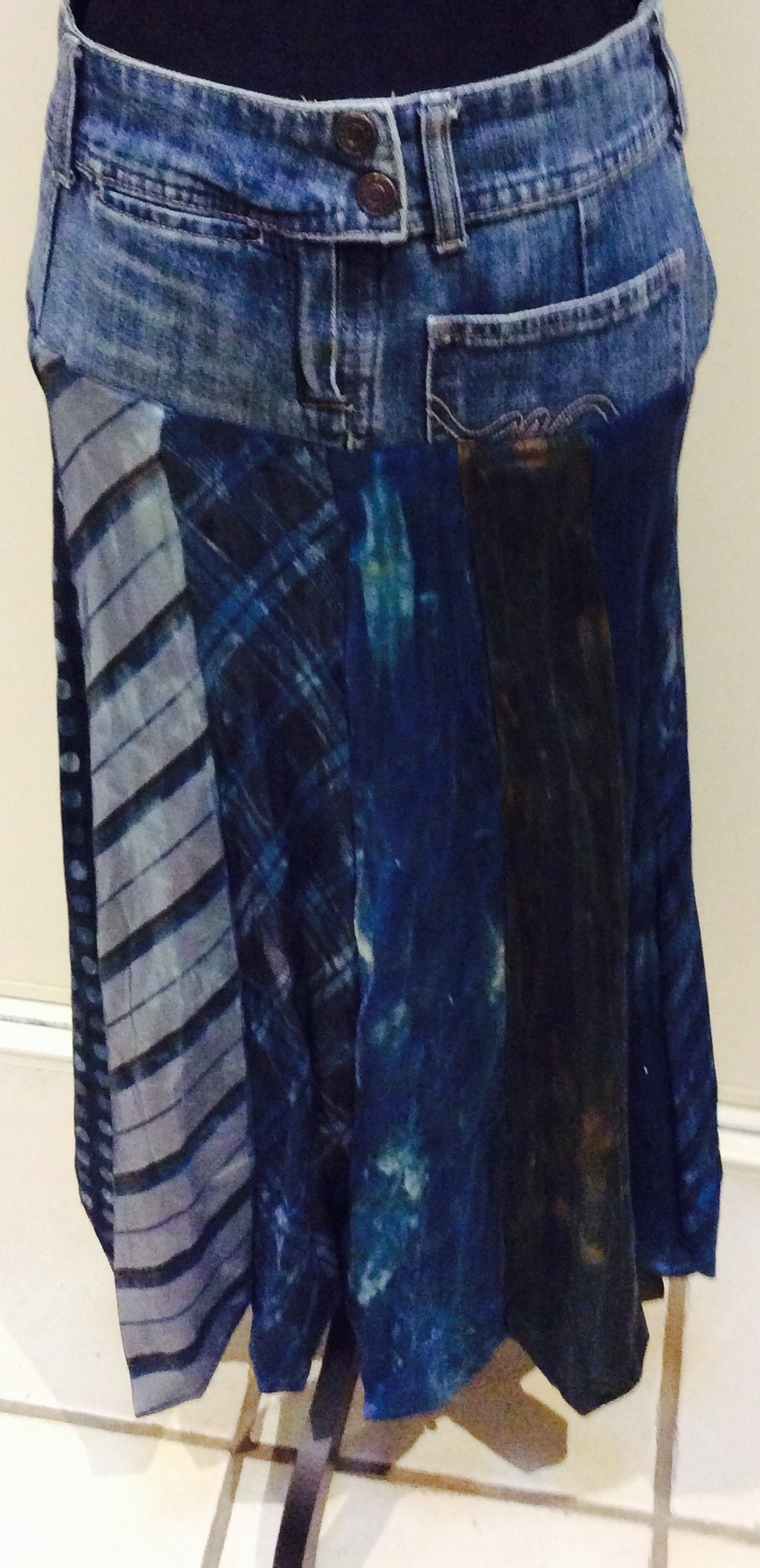 Eco Warrior Recycled Ties and Jeans Skirt. Size 10/12