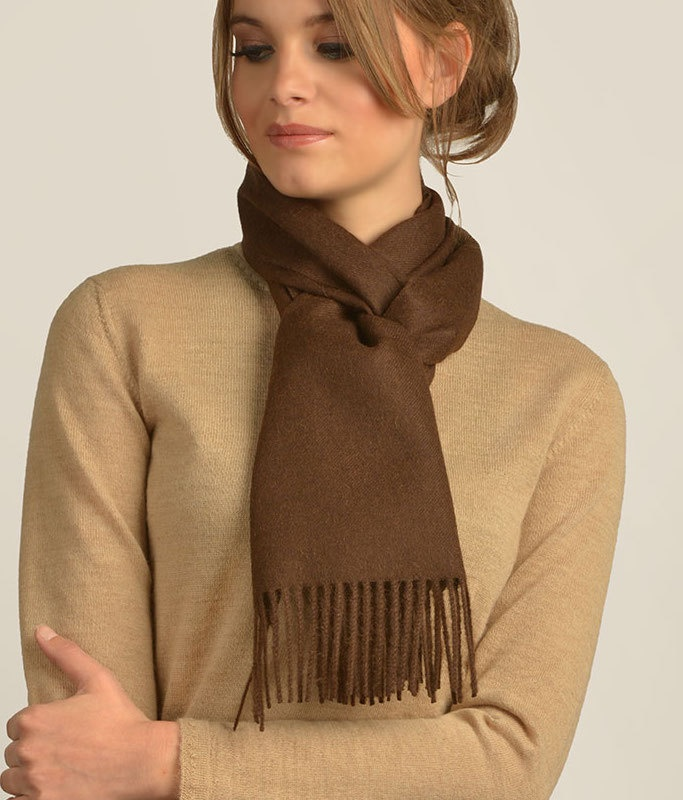 LONG BRUSHED SCARF CHOCOLATE 410