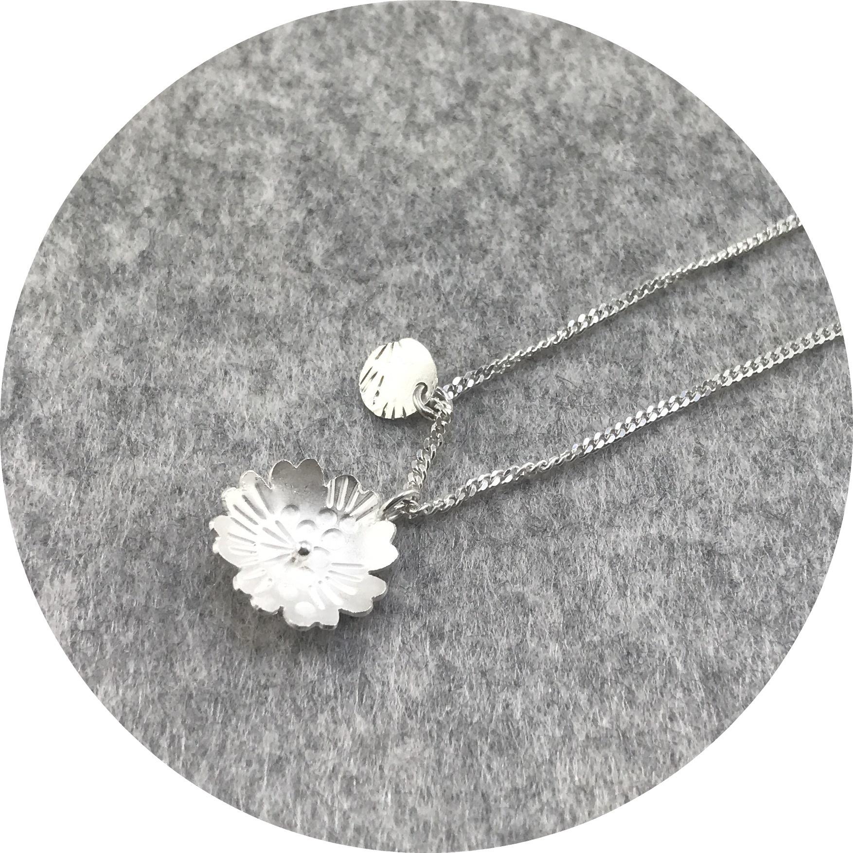 Zoe Grigoris- Flower pendant. Sterling silver. 50cm chain.