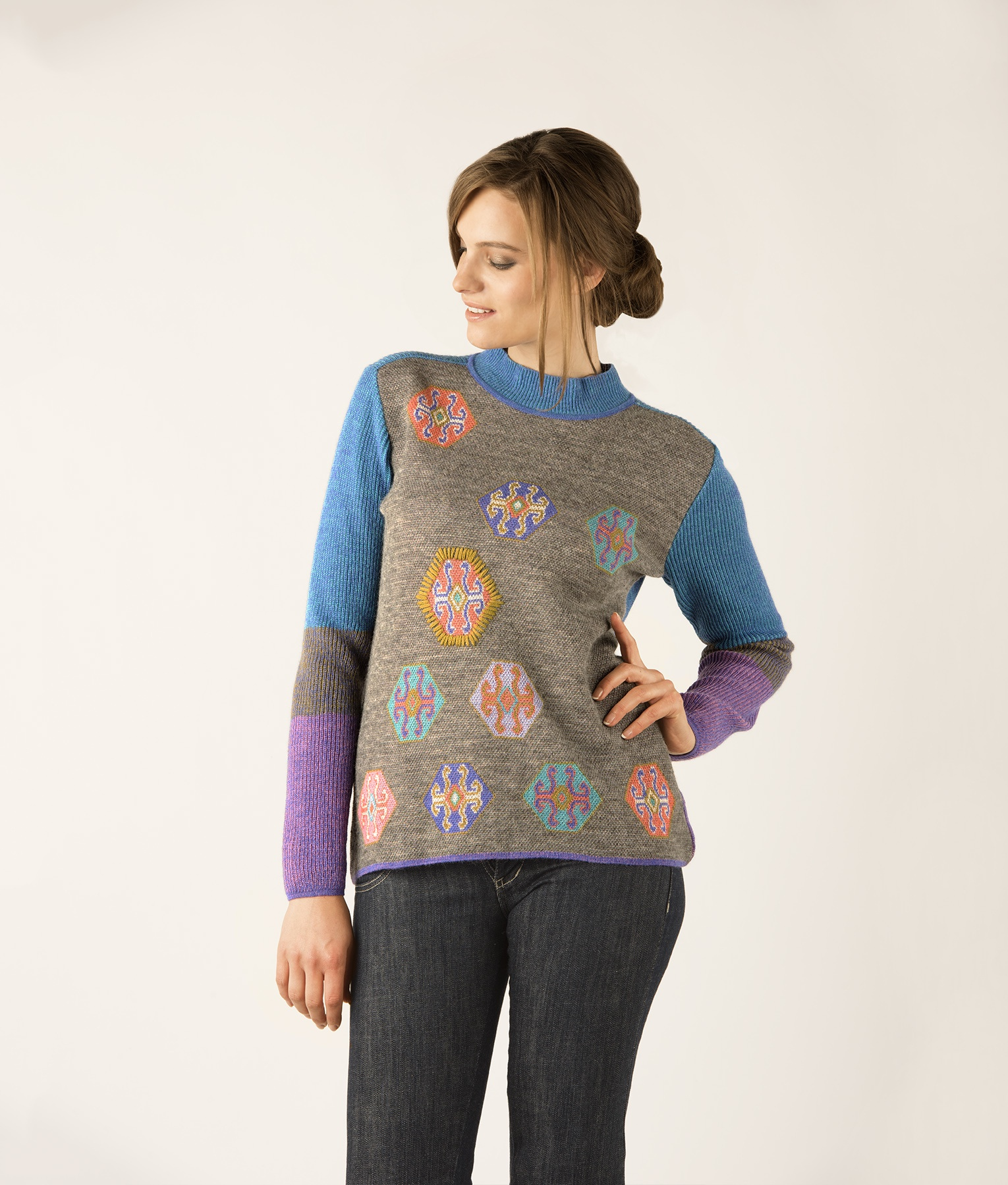 RIB AND JACQUARD HIGH NECK PULLOVER C002