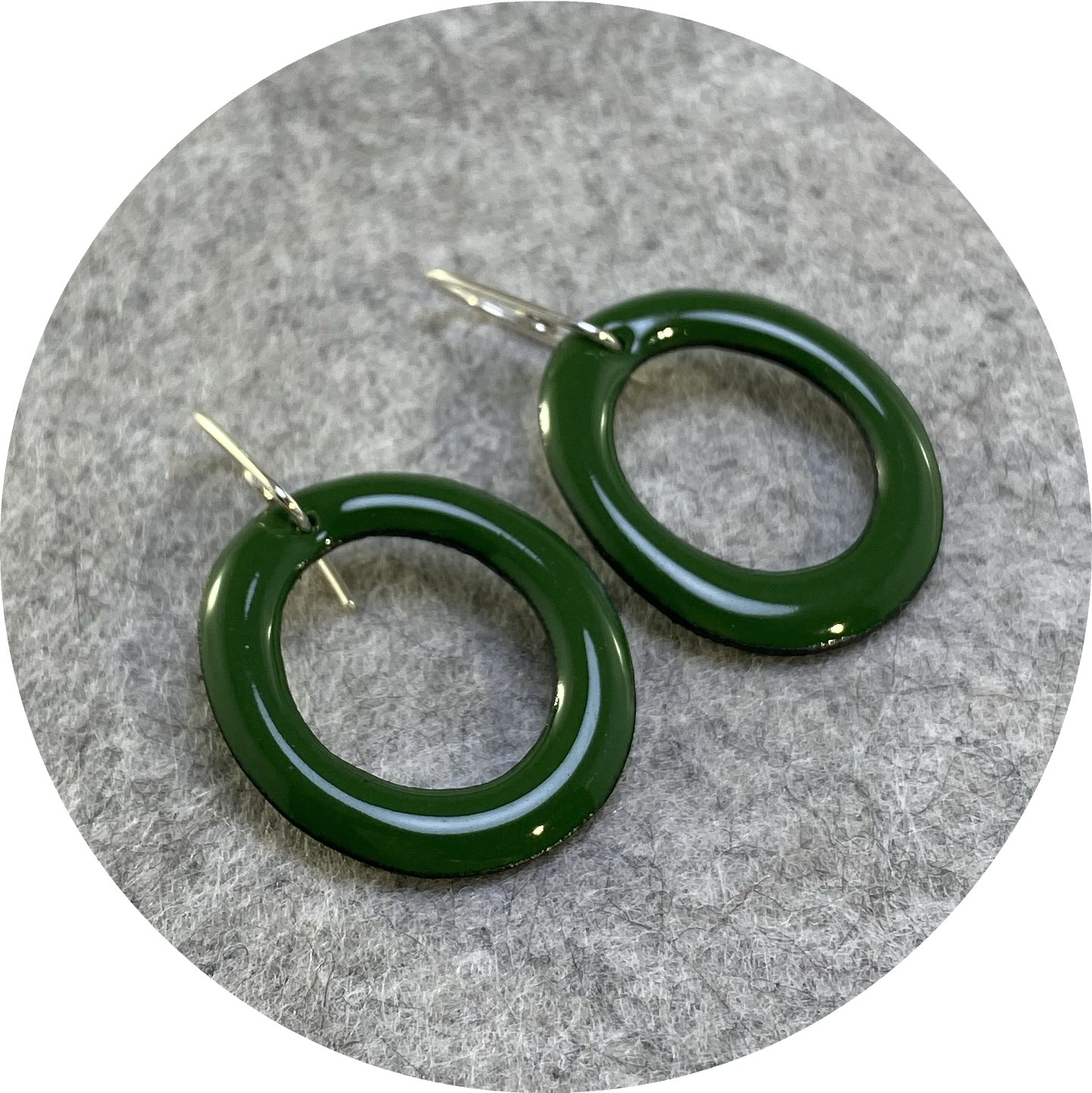 Jenna O'Brien- Small Enamel hoops in Ivy Green with sterling silver.