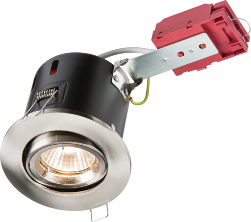 230V IP20 50W GU10 IC Fire-Rated Tilt Downlight Brushed Chrome