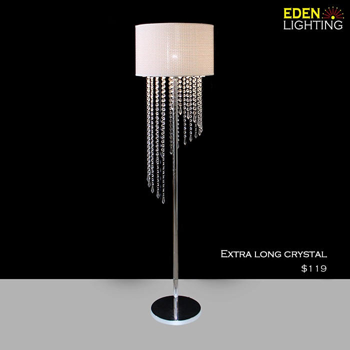 Long crystal drops floor lamp crystals included eden lighting previous aloadofball Choice Image