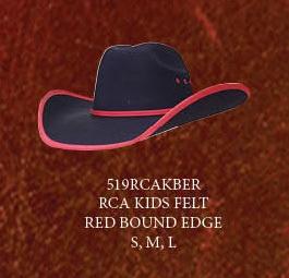 Lone Star Kid s Maverick Felt Cowboy Hat Black With Red Bound Edge  b6f138ac96f