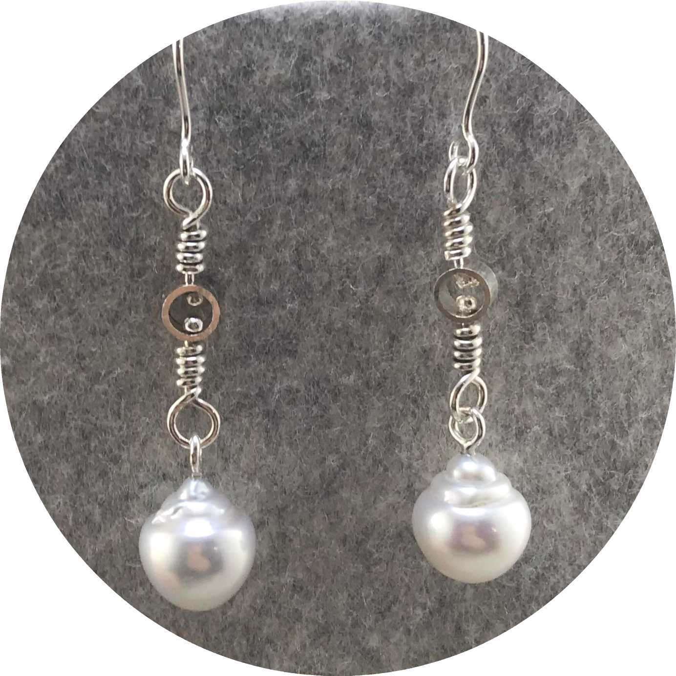 Laura Eyles - 'Swivel Drop Earrings', South Sea Circle Pearls, 925 silver