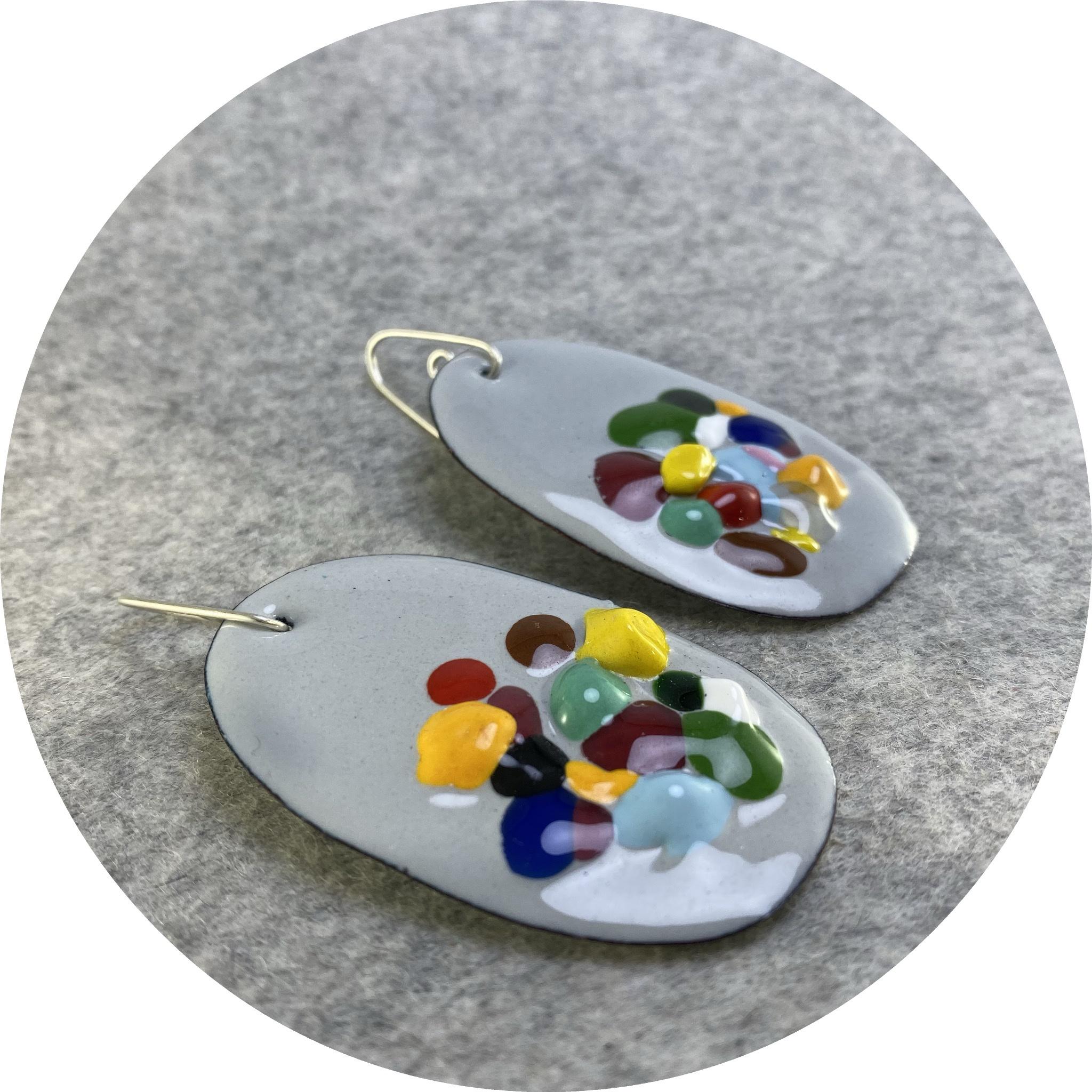 Jenna O'Brien - 'Queen Grey Medium Earrings', copper, enamel, 925 silver