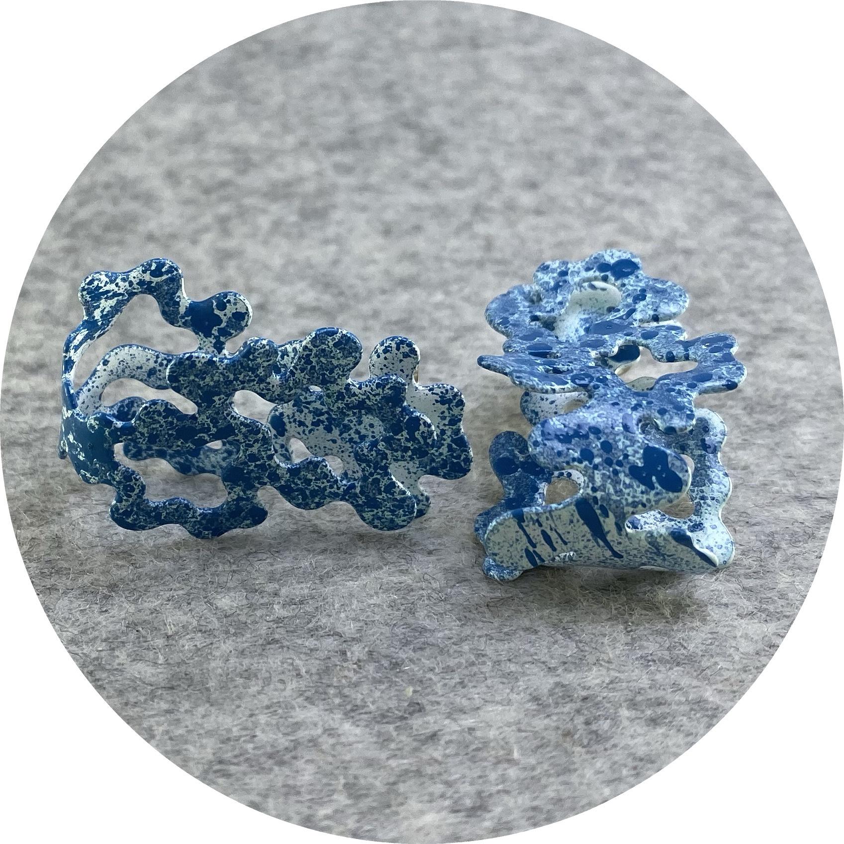 Cassandra Prinzi - 'Coral Clamshell Earrings Dark Blue on White', copper, powder coat, enamel paint, 925 silve