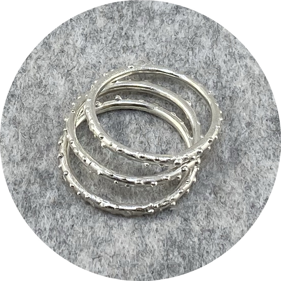 Katie Shanahan - Stacking Speckeld Sterling Silver Rings