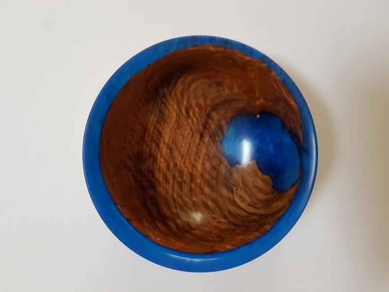 Brown mallee Burl bowl with Blue Resin