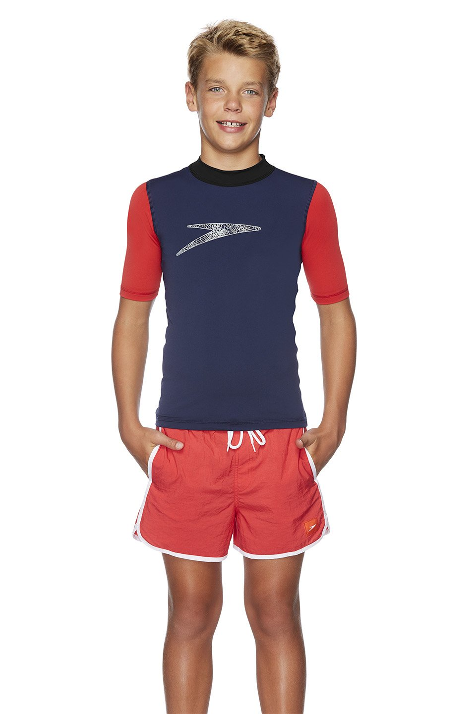 Boys Icon Logo Short Sleeve Sun Rashie Black/USA Red