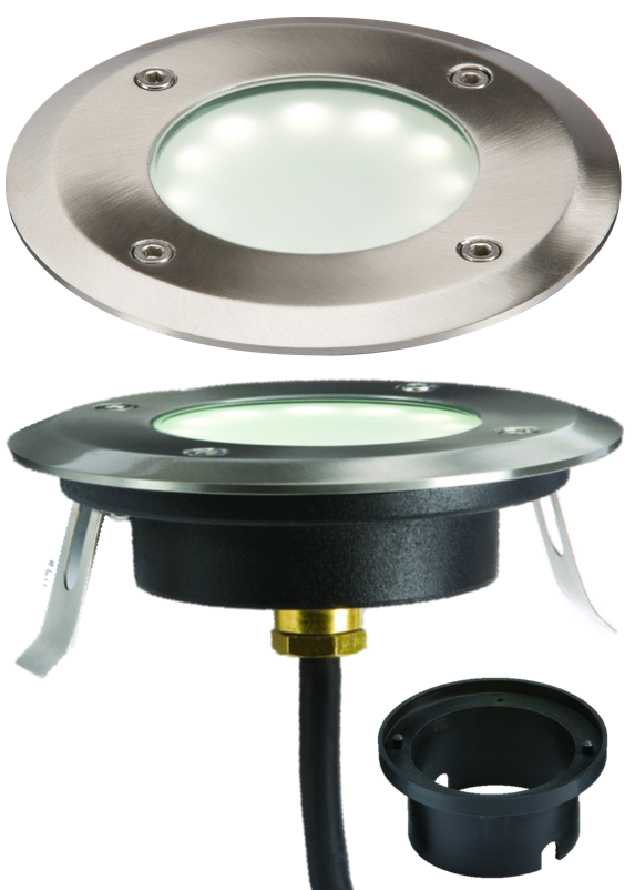 230V IP65 1.2W LED WHITE GROUND/DECK LIGHT