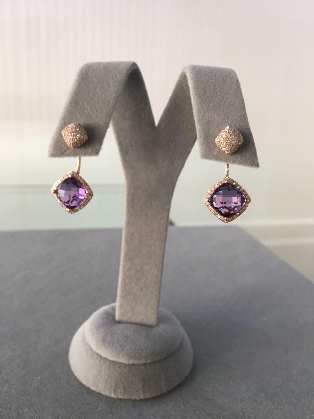 Rose Gold Amethyst & Diamonds Earrings
