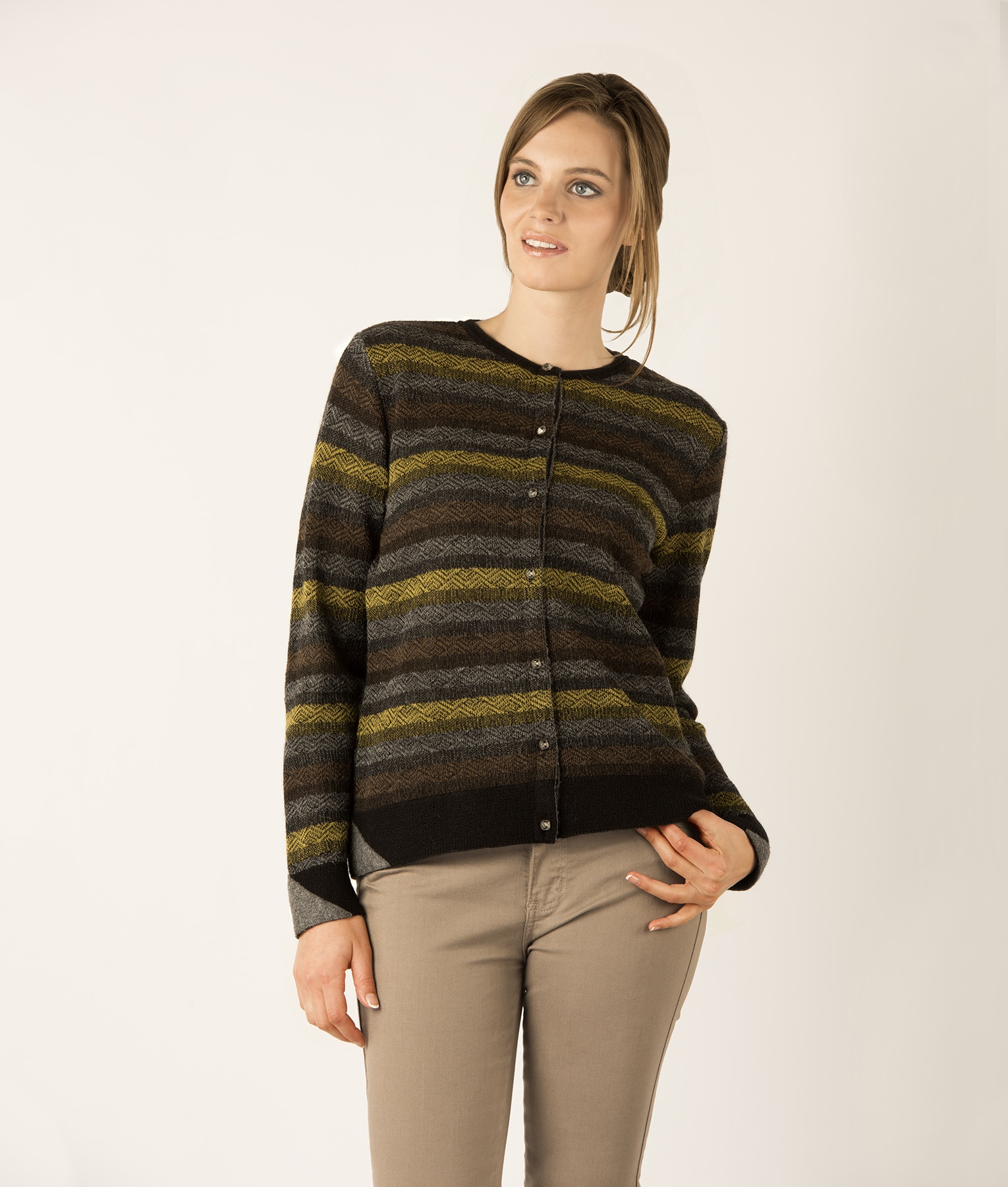 STRIPED BASIC CARDIGAN C003
