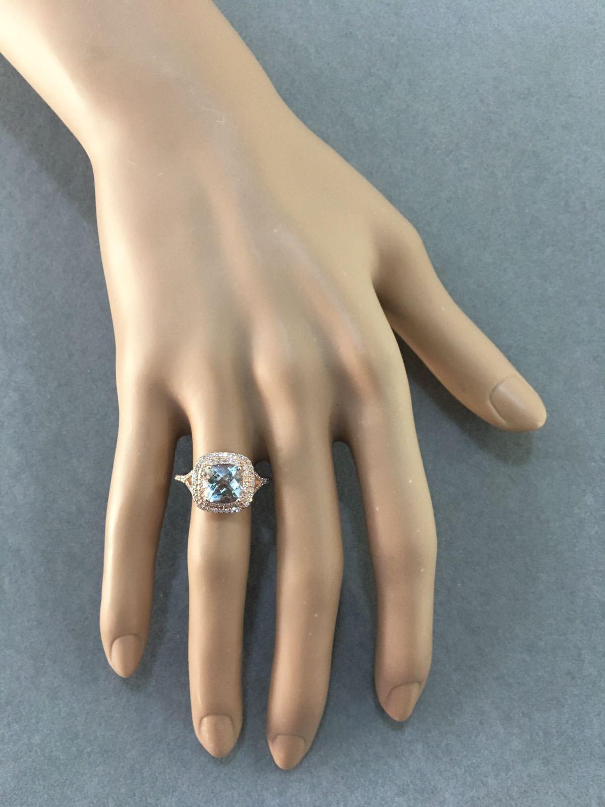 Rose Gold Aquamarine & Diamonds Ring