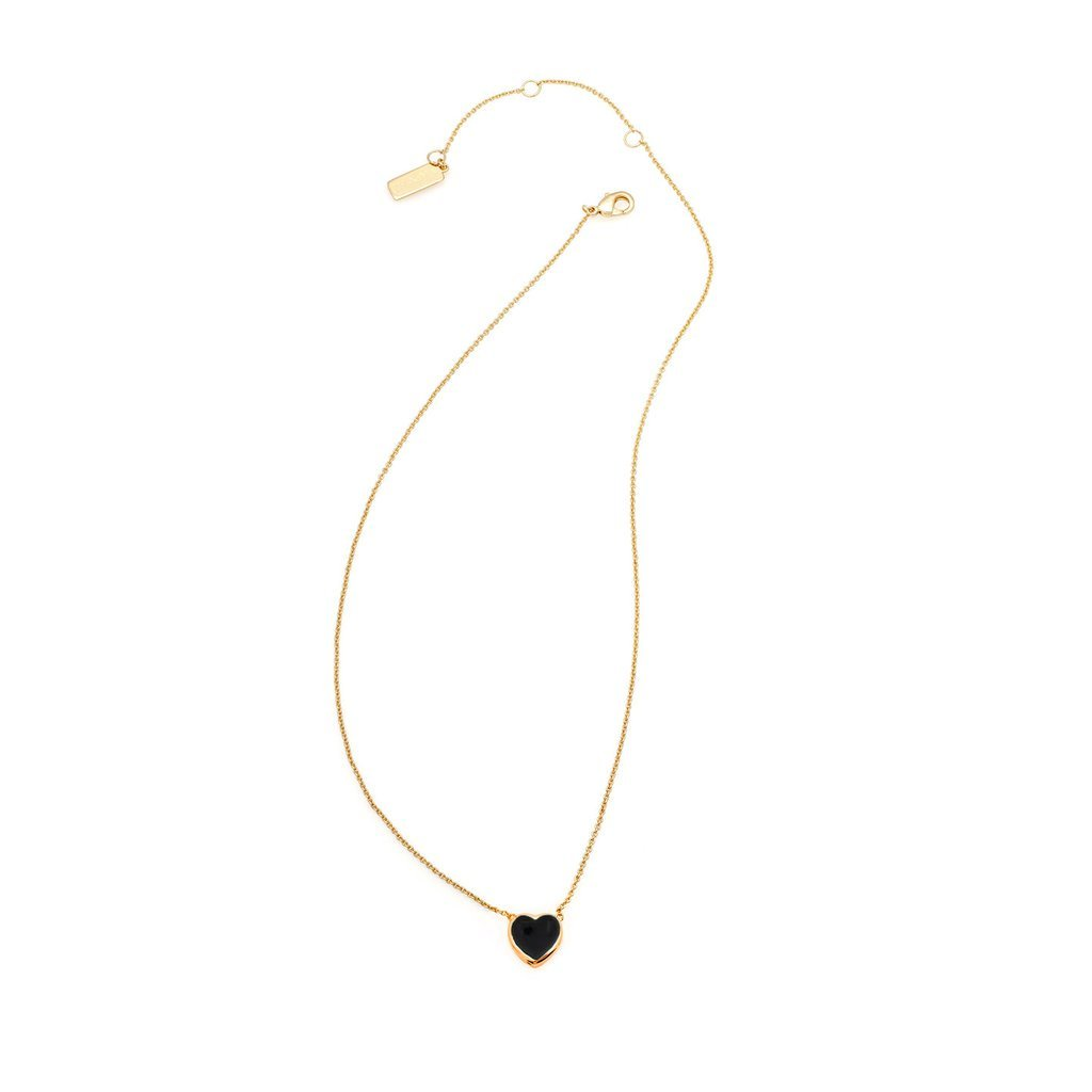 MELANIE AULD - STONE HEART NECKLACE IN BLACK ONYX/GOLD