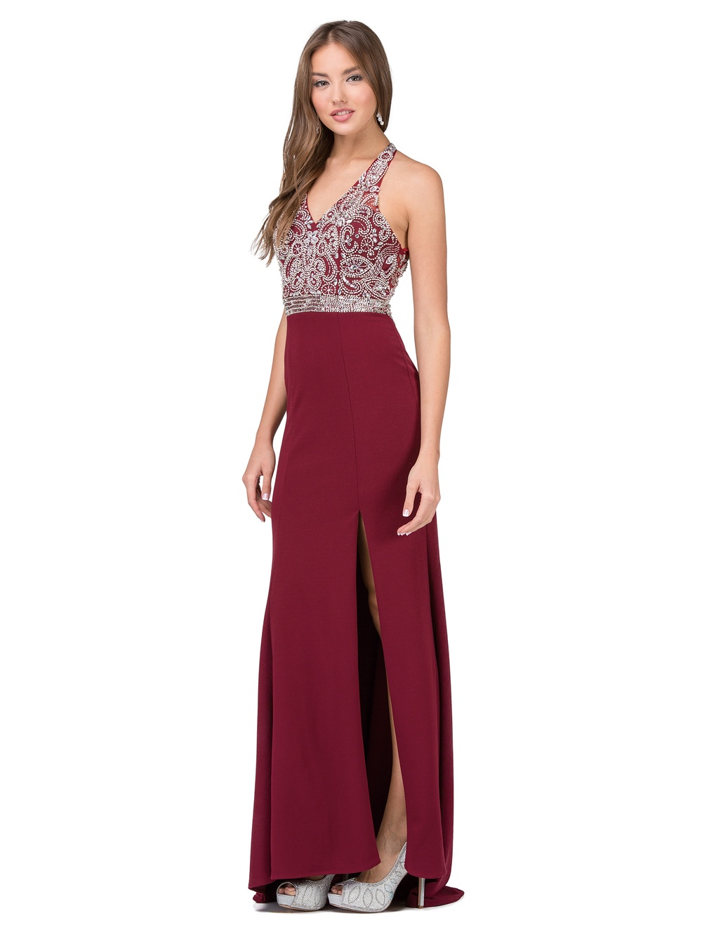 Burgundy Beaded Halter Top With Jersey Skirt With Slit Prom Dress ...