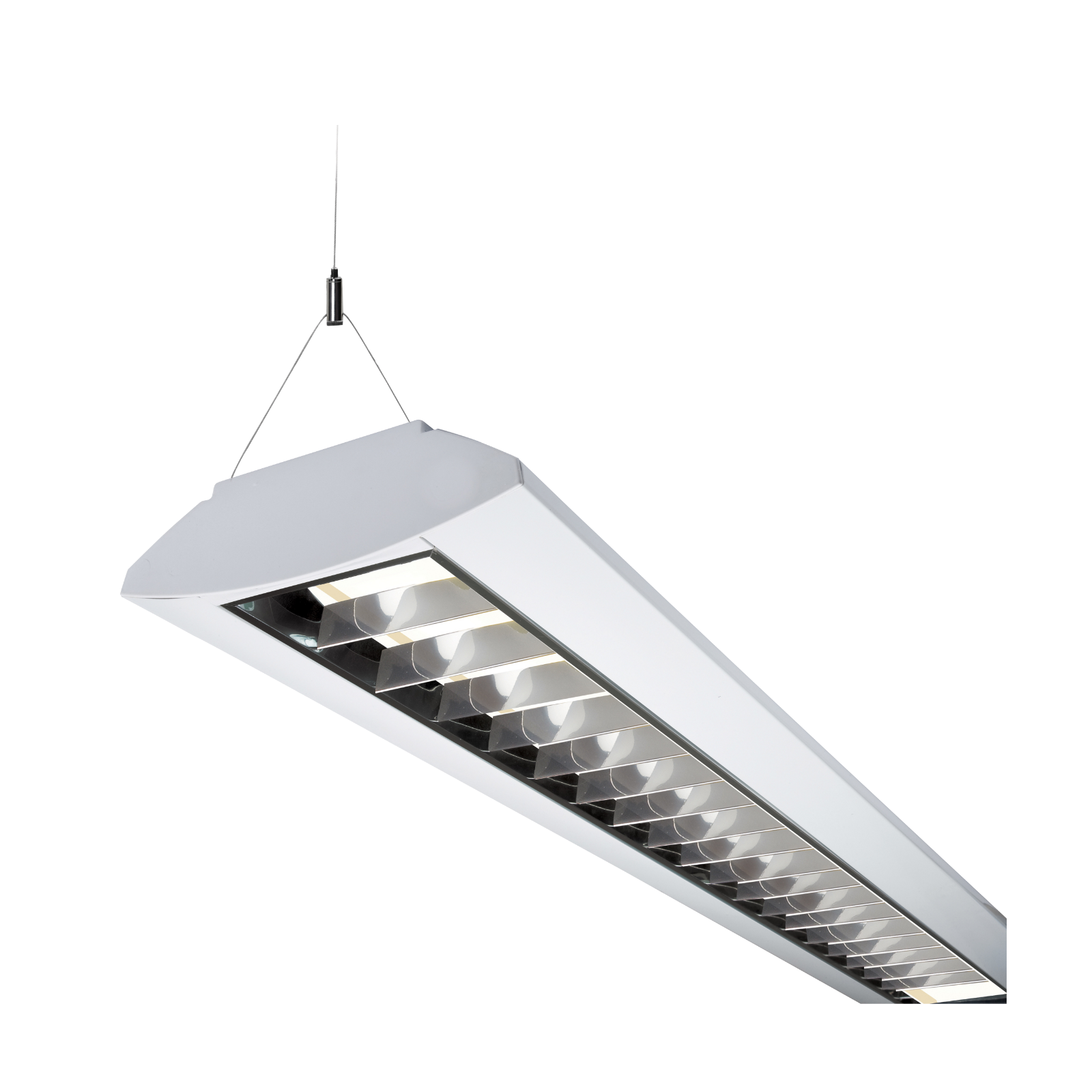 230V IP20 35W T5 Twin Fluorescent Fitting with Double Parabolic Louvre White