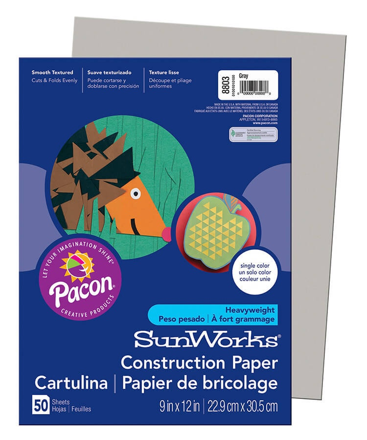 PA 8803 CONSTRUCTION PAPER GRAY 9X12