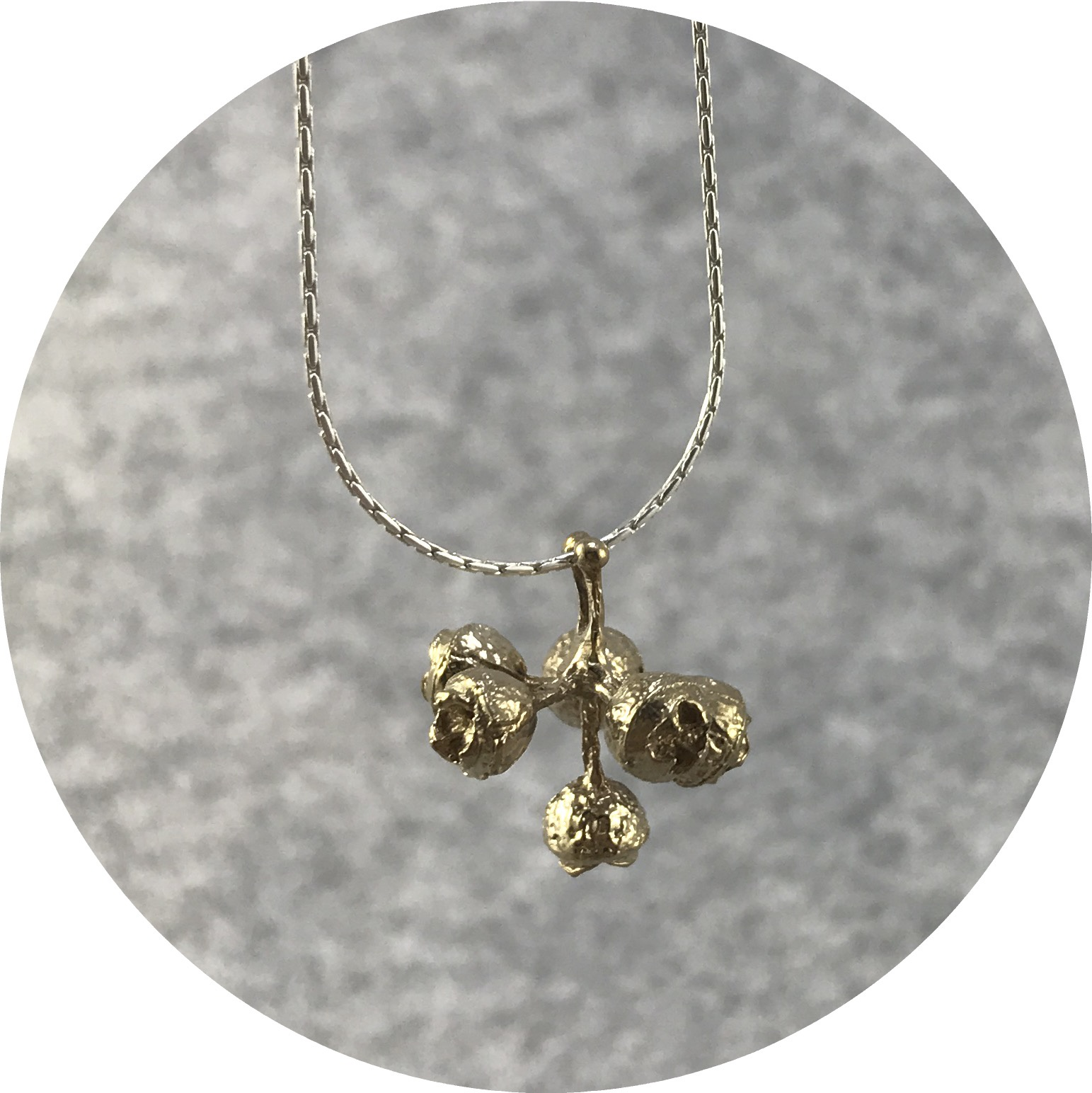 Abby Seymour- Gumnut Cluster Amulet Necklace. Brass and Sterling Silver.