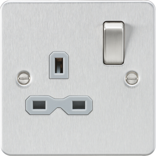 Flat plate 13A 1G DP switched socket - brushed chrome with grey insert