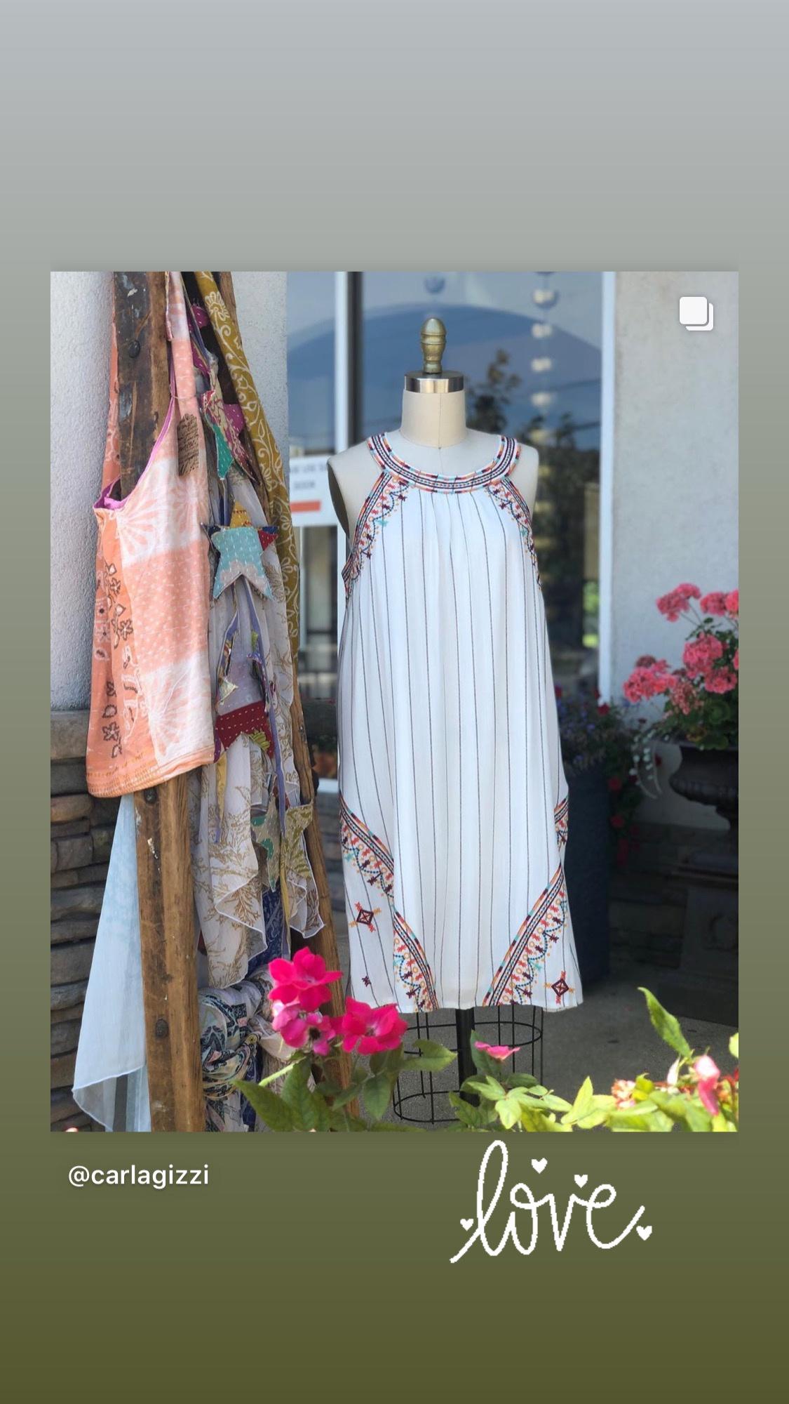 THML Short Stripe Halter Embroidered Dress