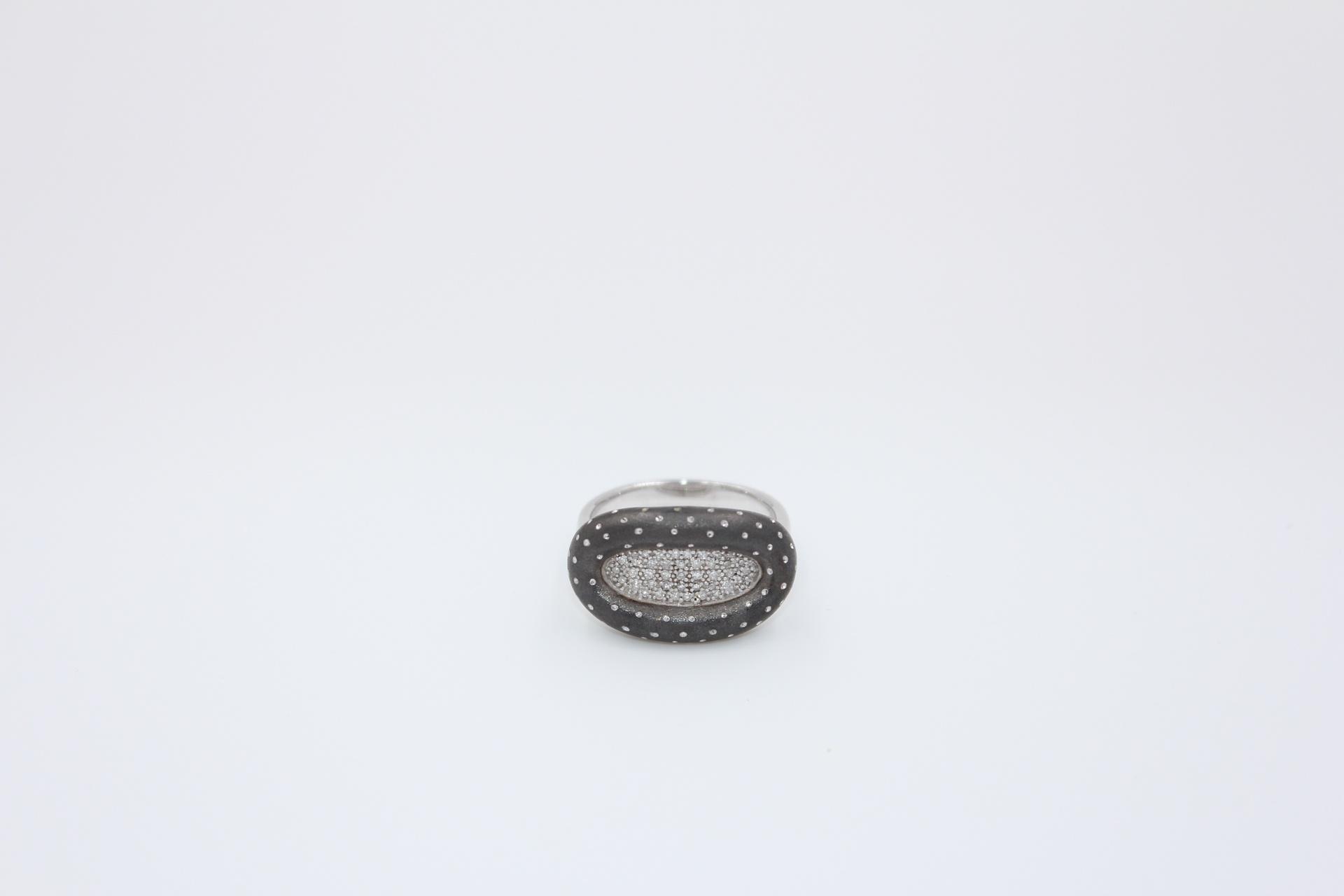 Silver Sapphire & Diamond Ring