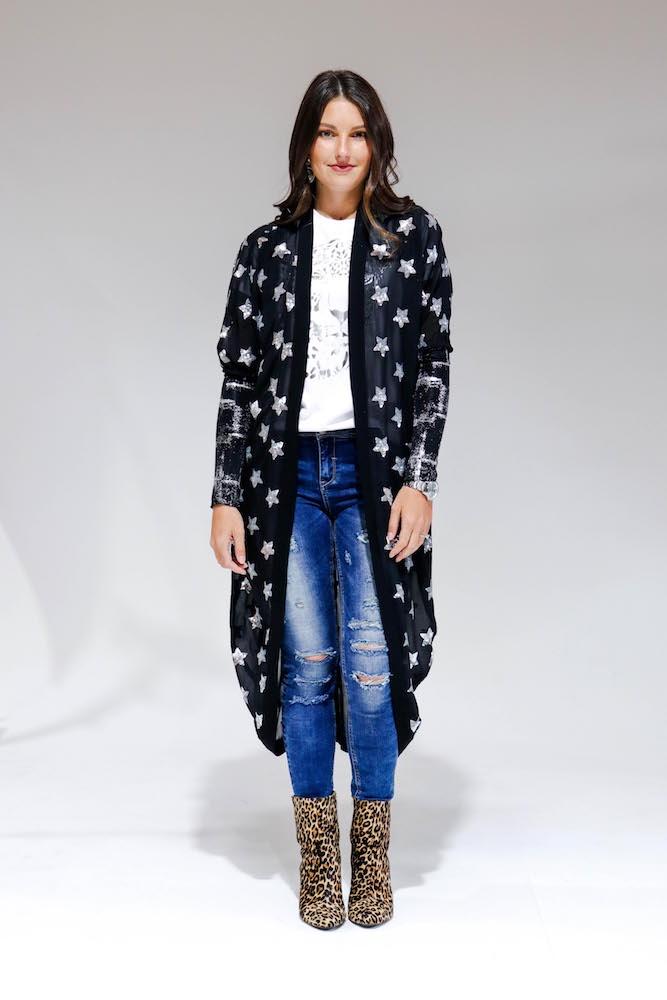 Augustine - Black Star Kimono - Long
