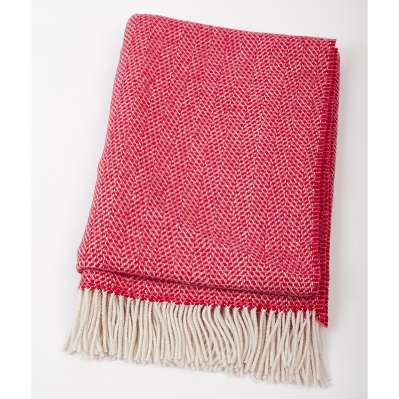 Herringbone Raspberry Merino Throw