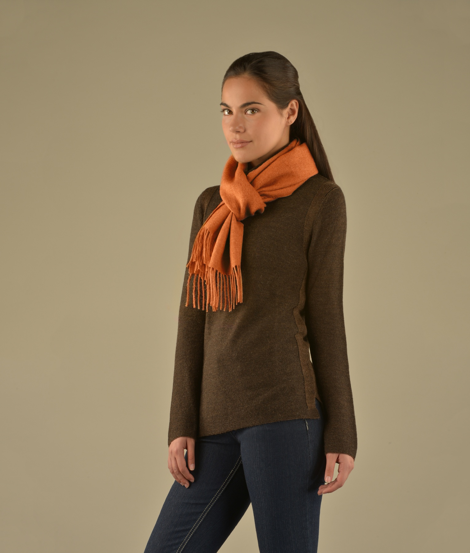 LONG BRUSHED SCARF SALMON AM12948