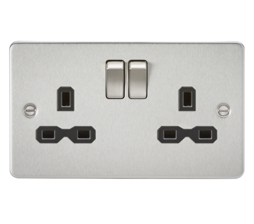 Flat plate 13A 2G DP switched socket - brushed chrome with black insert