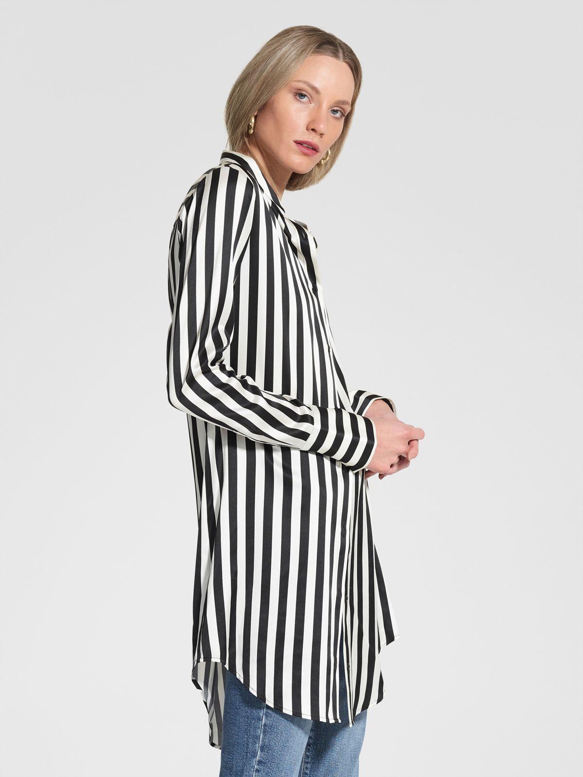 Nobody Denim Silk Stripe Longline Shirt