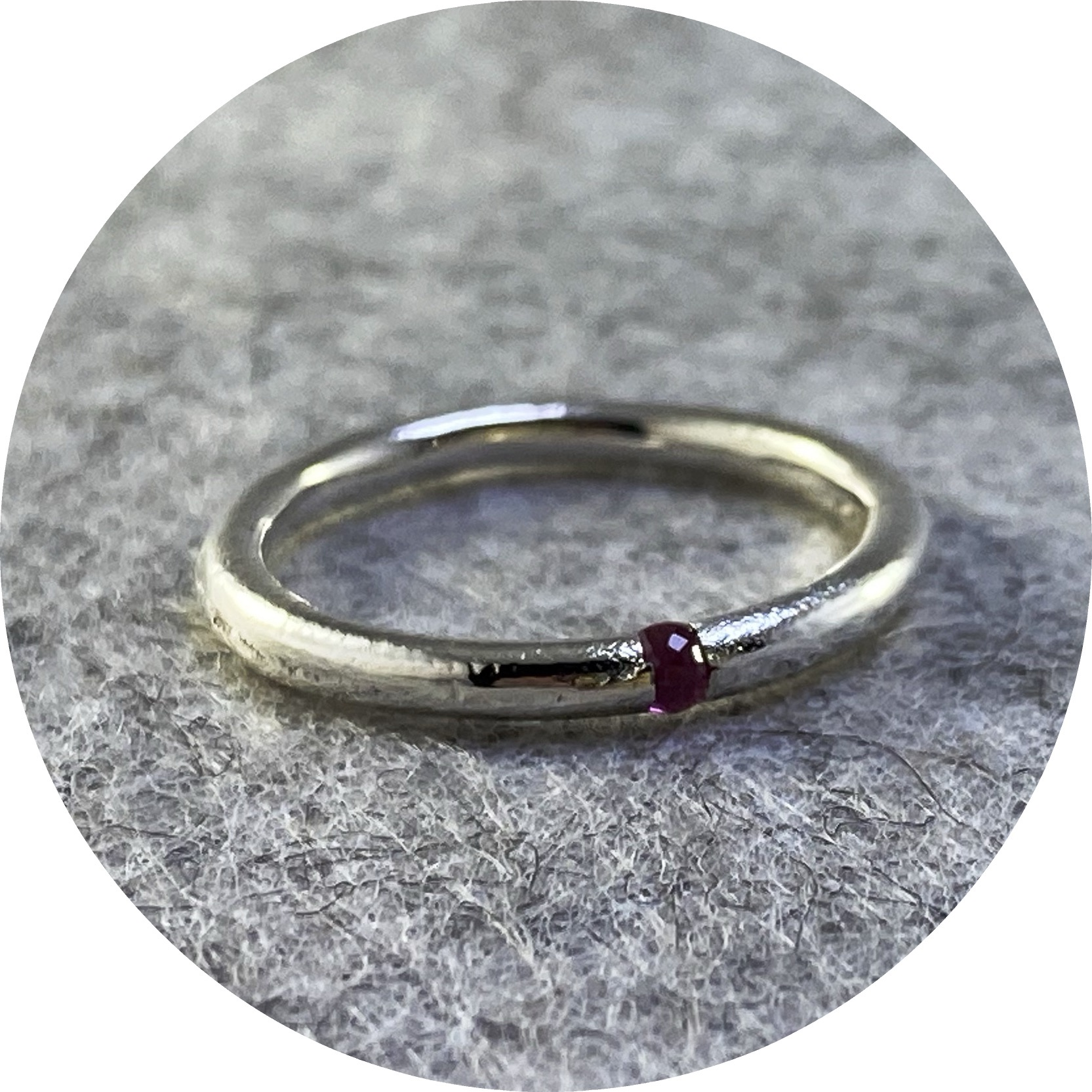 Kirra-Lea Caynes- Ruby ring, sand cast in place with sterling silver.  size  L1/2