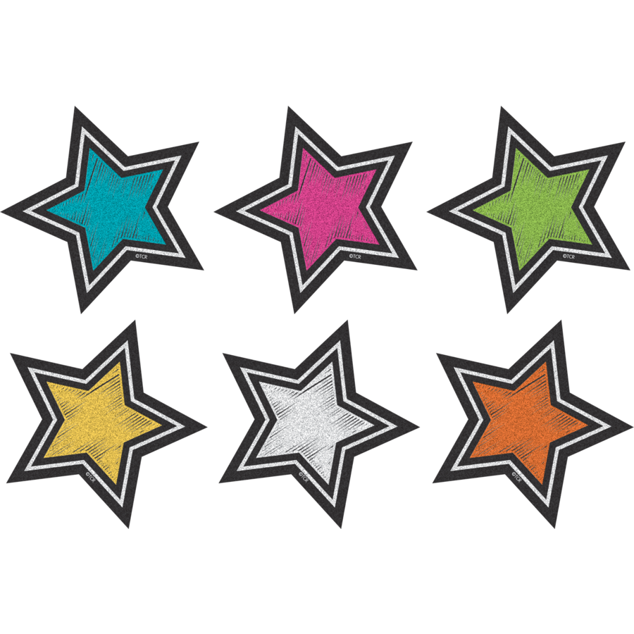 TCR 3554 CHALKBOARD BRIGHTS MINI STARS CUTOUTS
