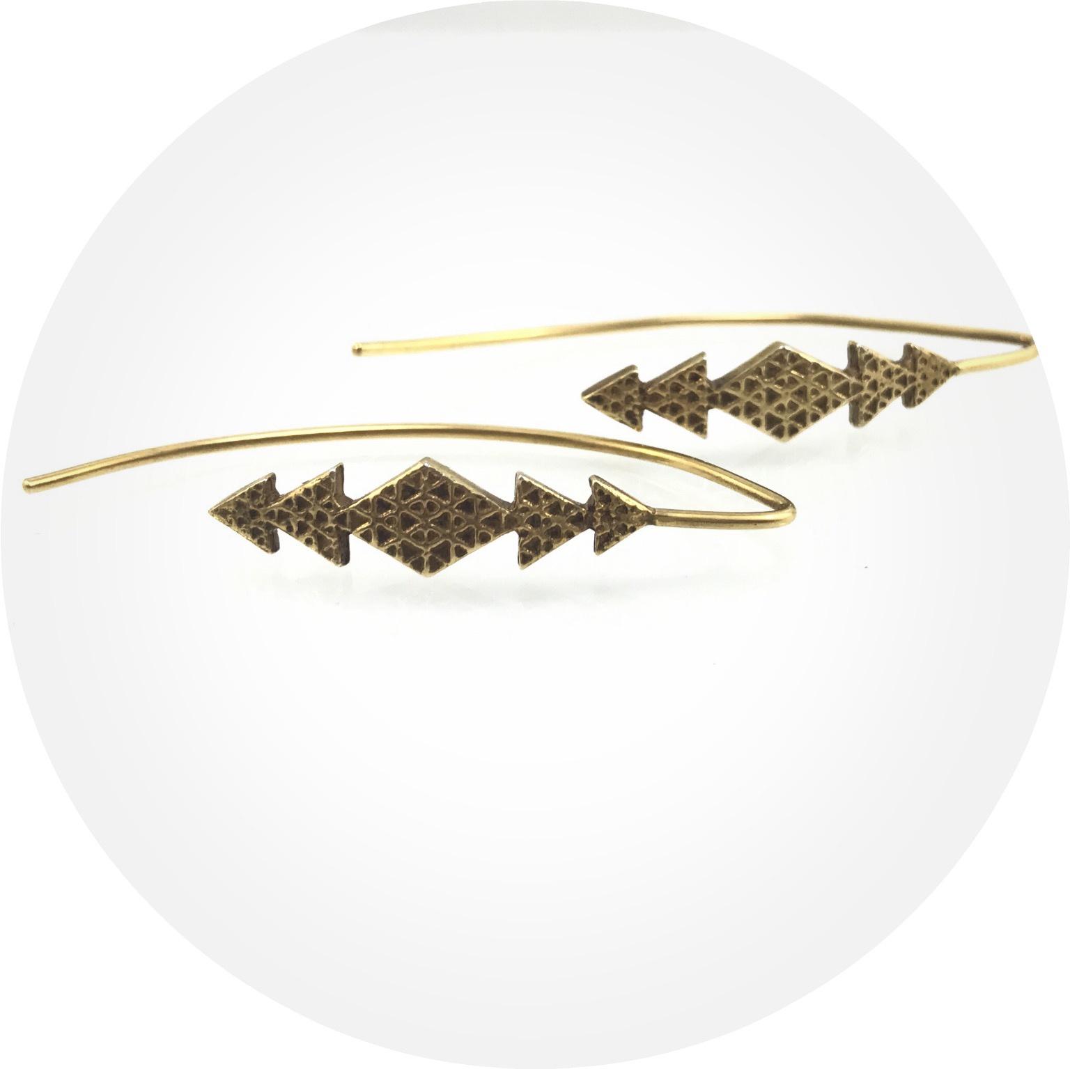 Kimba Pham- Earrings. as above so below ear hooks. 18k gold vermeil
