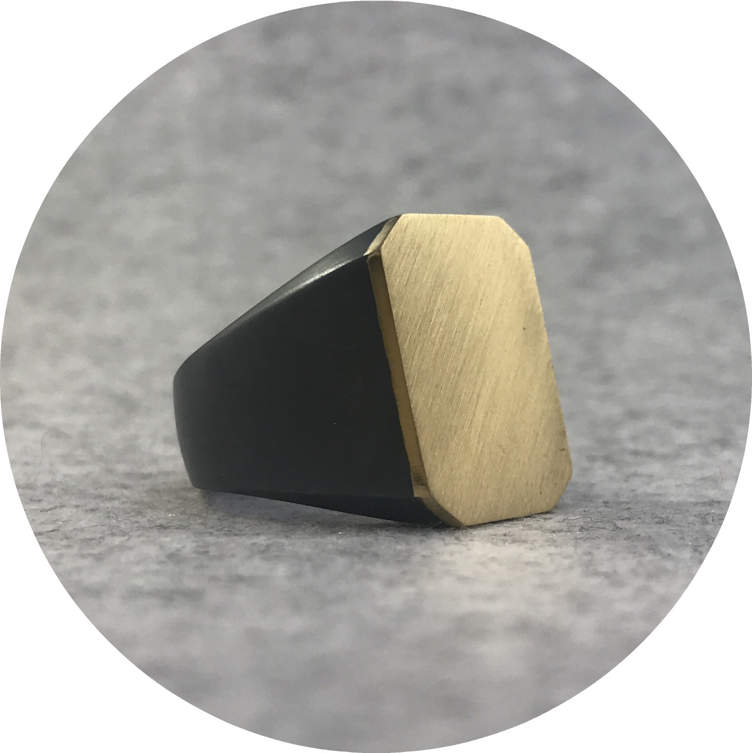 Fin Mahon -  Signet Ring in 9ct Yellow Gold and Oxidised Sterling Silver