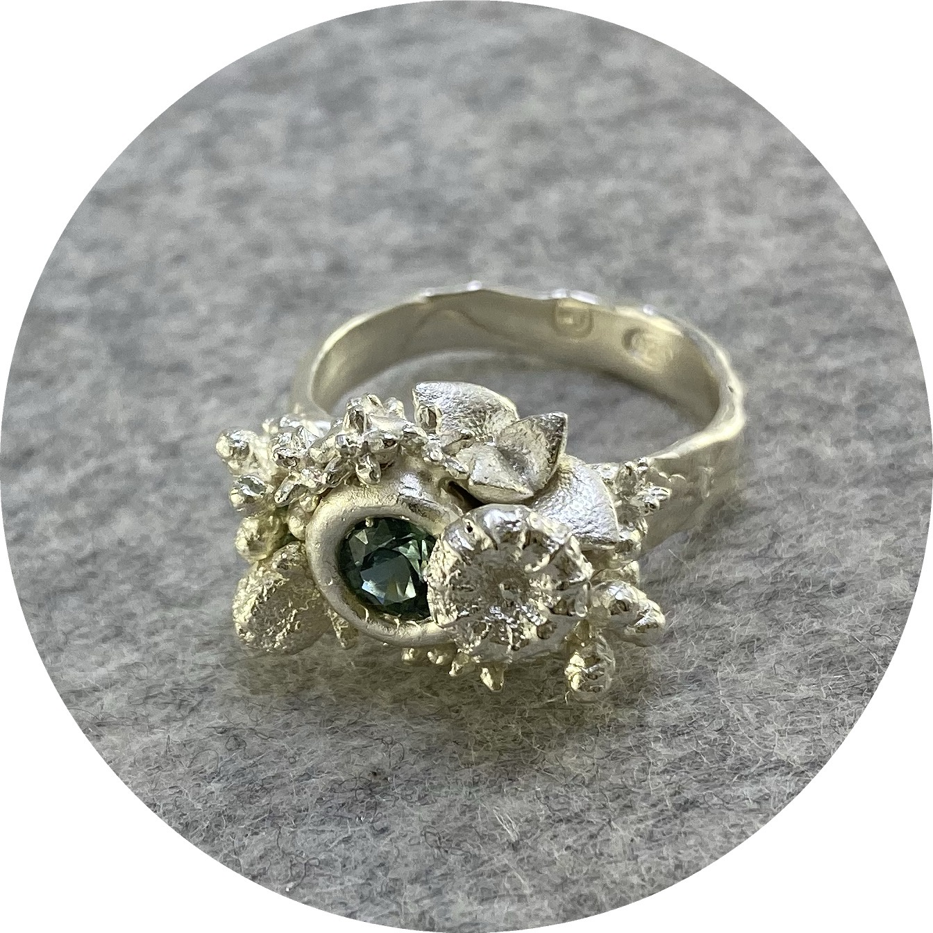 Manuela Igreja- enchanted forrest ring. 1ct parti sapphire from QLD. Size Q.