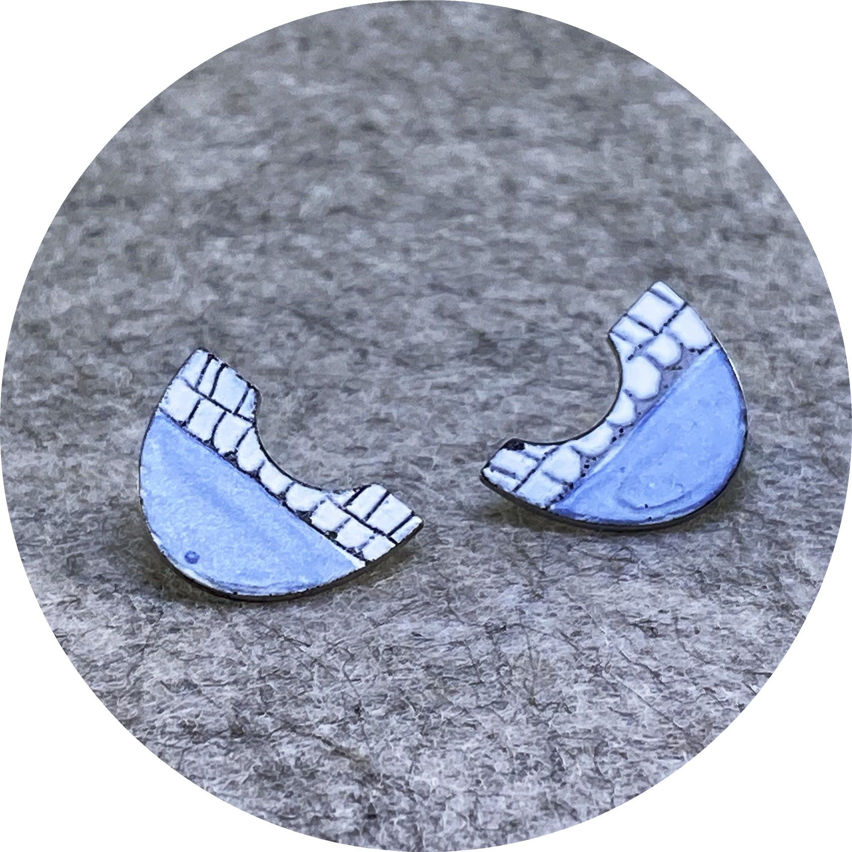 Sarah Murphy- Fan studs in small. Blue and white enamel on stainless steel.